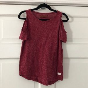 7 For All Mankind Maroon Cold Shoulder Tee Small